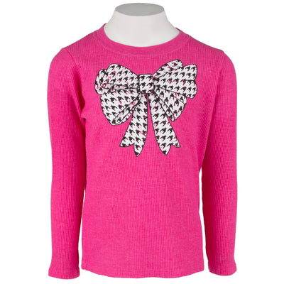 Long Sleeve Thermal with Herringbone Bow