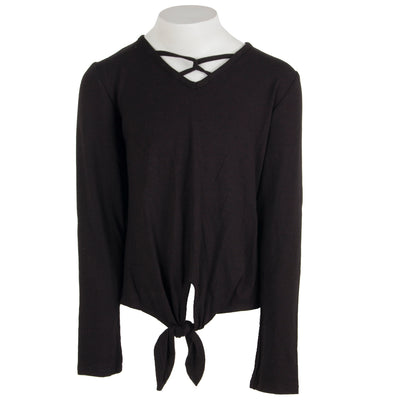 Long Sleeve Tie Top Criss Cross Front