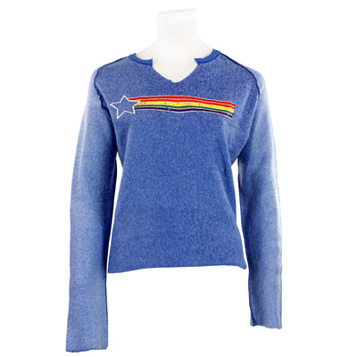 Rainbow Star Slit V Sweatshirt