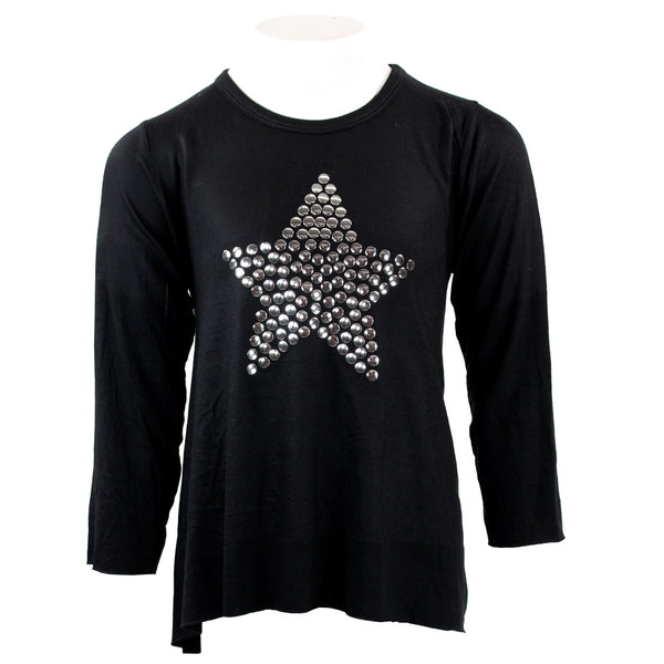 Long Sleeve Black Tee Hi Lo Silver Star