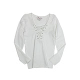 Long Sleeve Criss Cross Grommet Lace Up