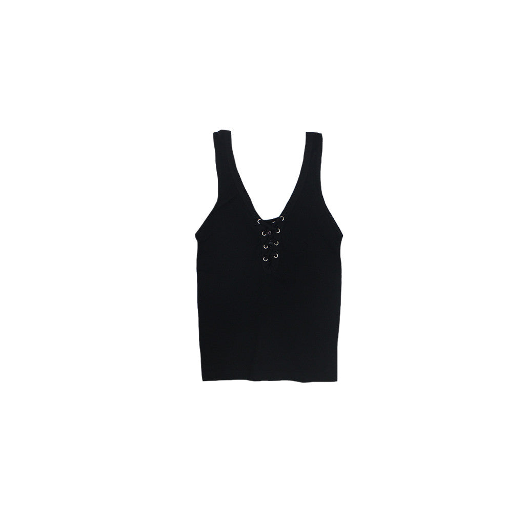 Ribbed Grommet Lace Up Tank