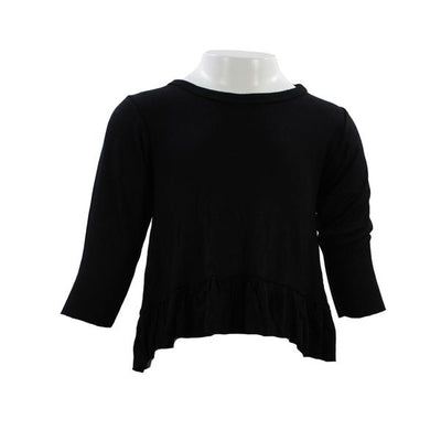 Long Sleeve Black Ruffle
