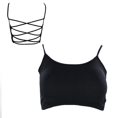 Junior Long Bra Criss Cross with  Removable Pads