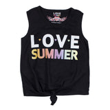 Tie Front Tank with Love Summer