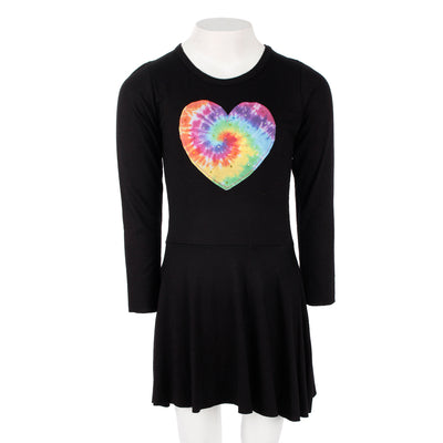 Long Sleeve Swing Dress With Tye Dye Heart Patch