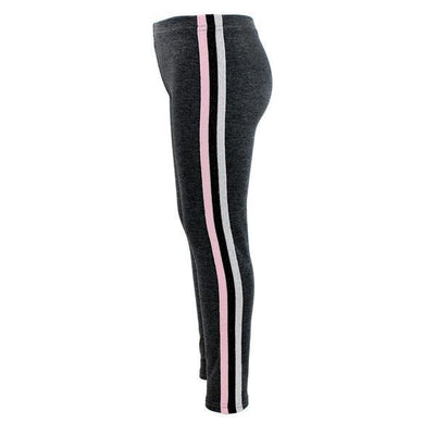 Heather Capri with Pink Silver Black Stripe Down Side