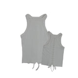 Ribbed Lace Up Back Tank