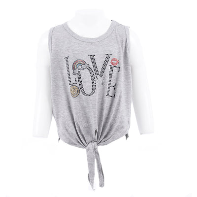Tie Front Tank Top with Love Icon