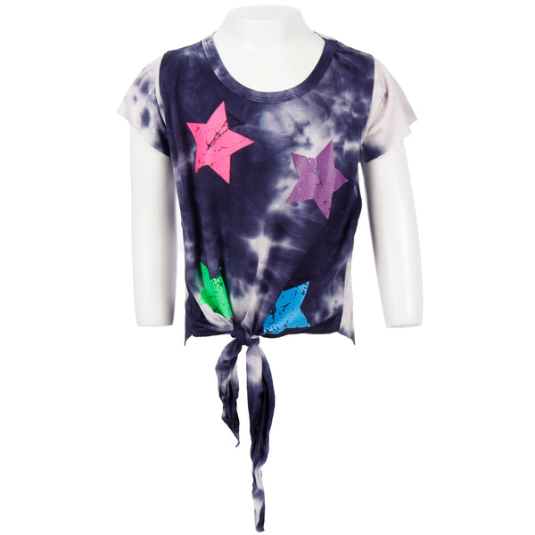 Short Sleeve Tie Front Top With Neon Stars