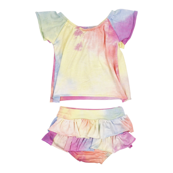 2pc Set Rainbow Tie Dye Flutter Set