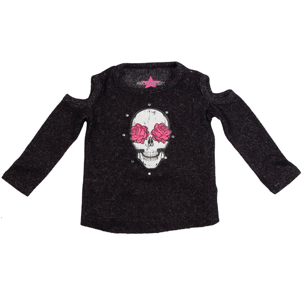 Long Sleeve Cold Shoulder Skull