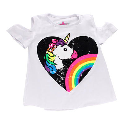 Short Sleeve Cold Shoulder Top with Heart Unicorn Rainbow