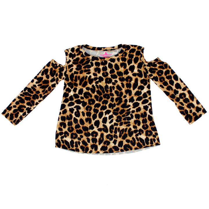 Leopard Long Sleeve Cold Shoulder Tee