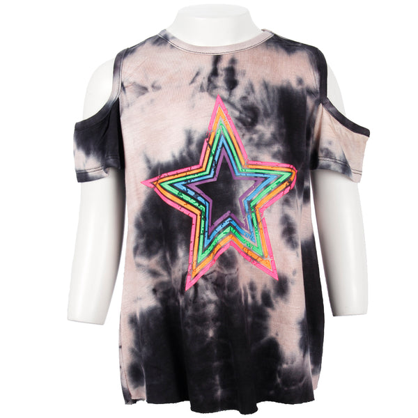 Short Sleeve Cold Shoulder Top With Neon Star