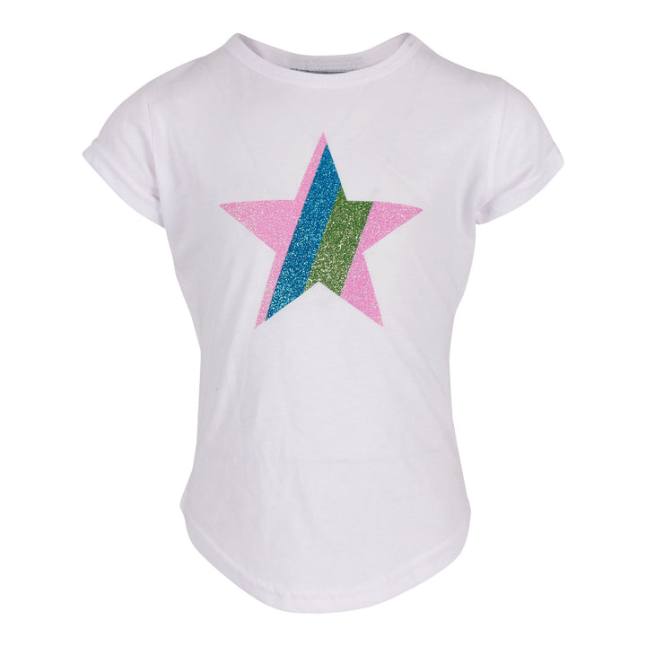 Short Sleeve Rounded Bottom Top with Glitter Star