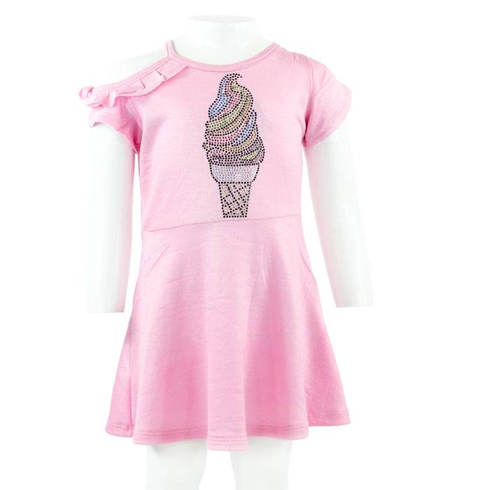 One Cold Shoulder S/S Dress w Ice Cream Cone