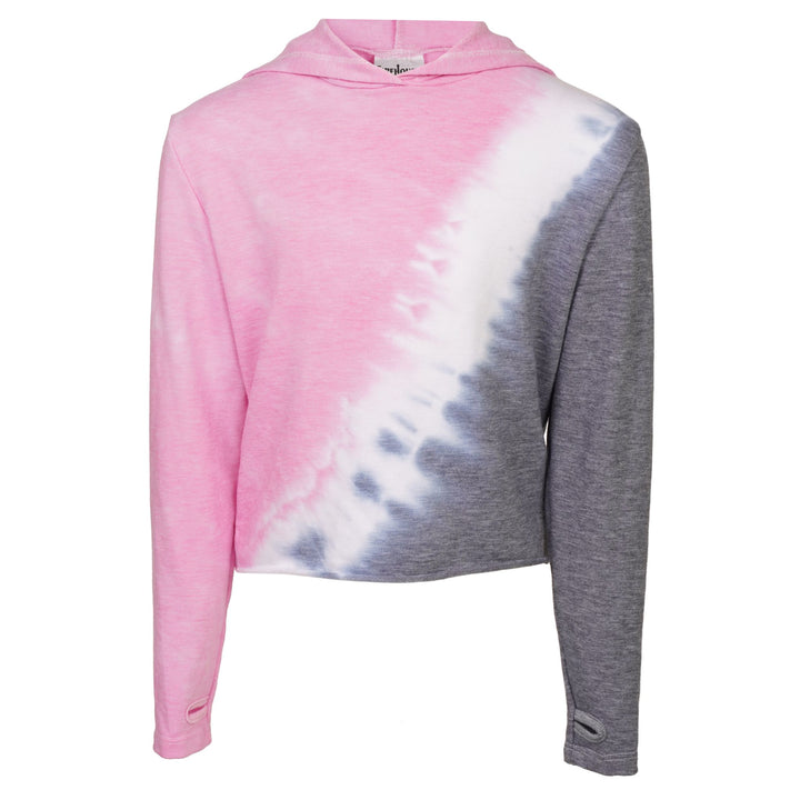 Diagnol Tie Dye Pink, White & Grey Cropped Hoodie