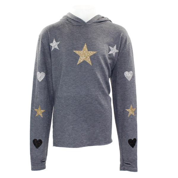 Long Sleeve Hoody with Metallic Hearts and Stars All Over