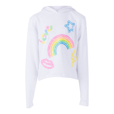 Crop Hoody with Neon Lights Icons