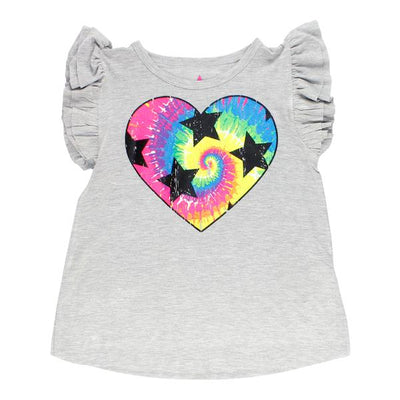 Short Sleeve Ruffle Top with Tie Dye Heart Stars