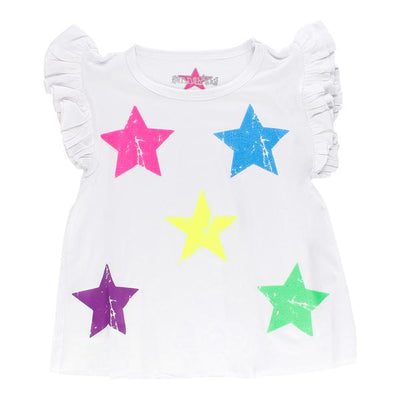 Short Sleeve Ruffle Top with Neon Stars