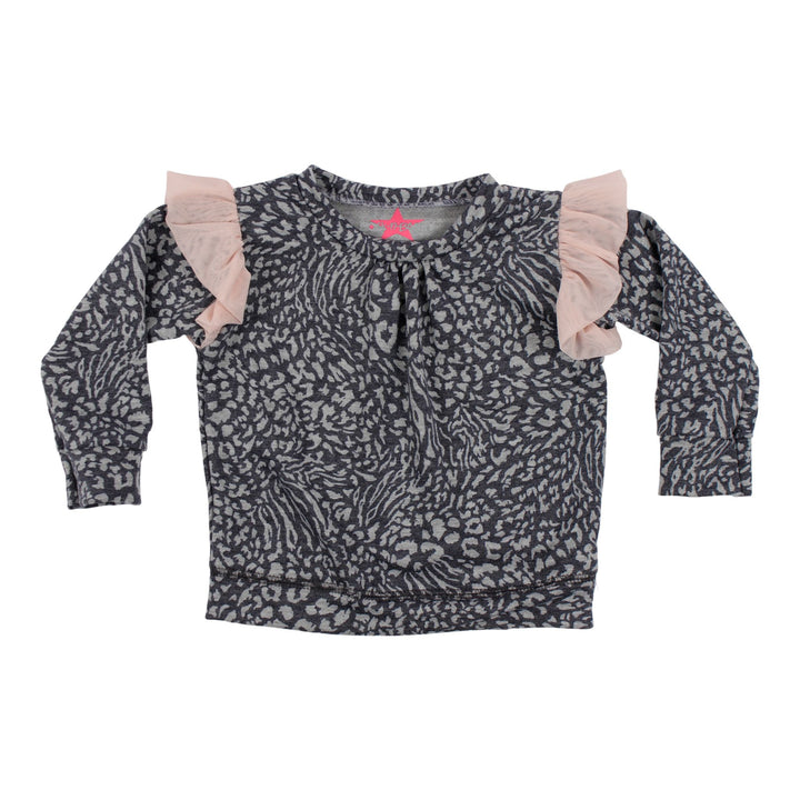 Cheetah Sweatshirt with Pink Mesh Ruffle