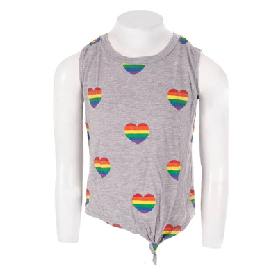 Knotted Tank with Rainbow All Over Stripe Hearts