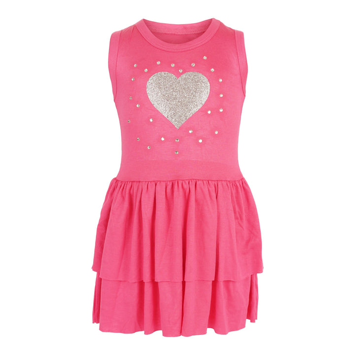 Tank Dress with Double Ruffle Silver Glitter Heart n Stones