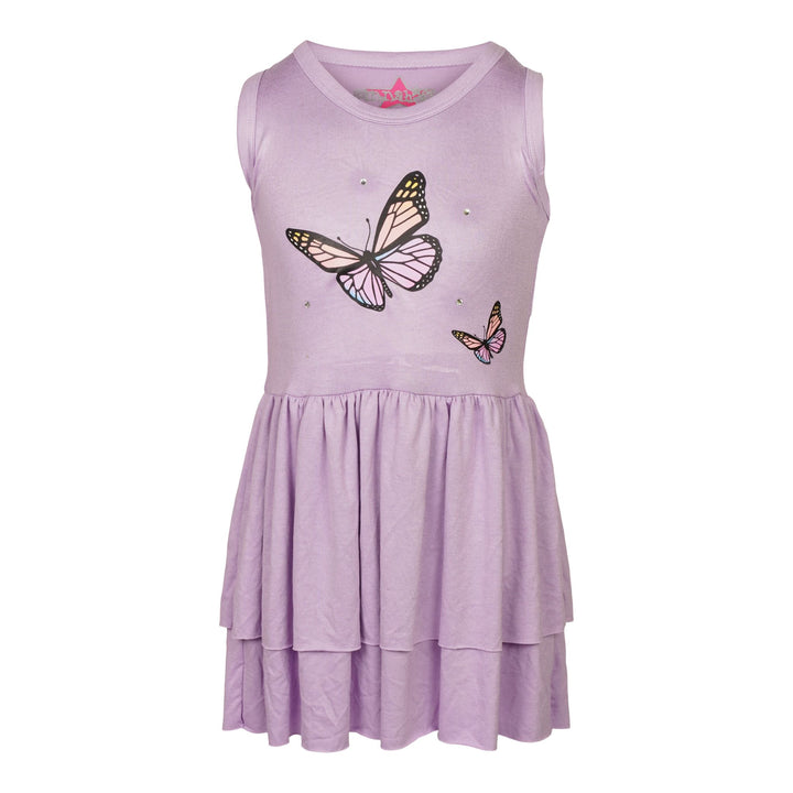 Ombre Butterfly & Stone Ruffle Tank Dress
