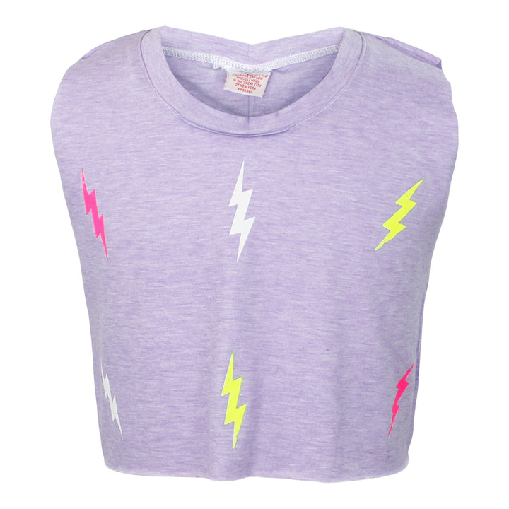 CROP TANK WITH LIGHTNING BOLTS