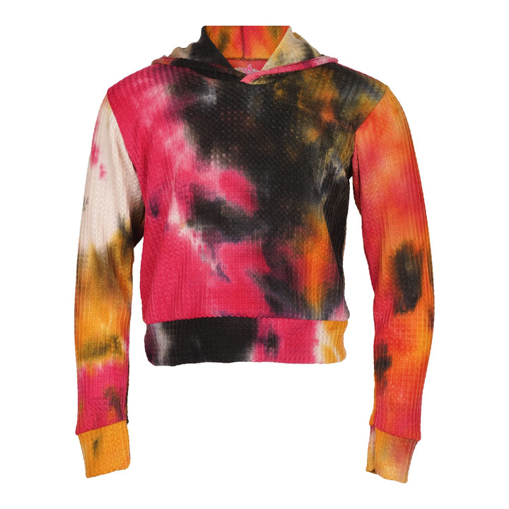 Fuschia Orange Black Tie Dye Crop Hoodie