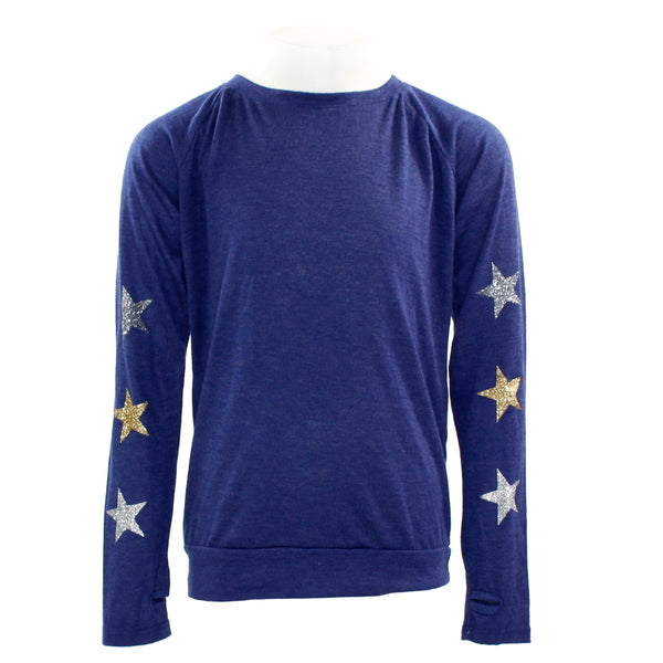 L/S Top Slver/Gold Glitter Star