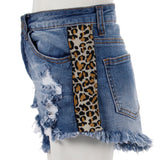 Cut Off Short with Leopard Stripe