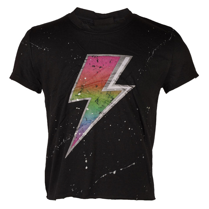 Short Sleeve Crop Crew with Lightning Bolt
