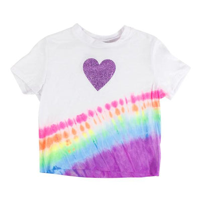 Short Sleeve Cropped Tee Jam Tie Dye with Purple Glitter Heart