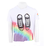 Short Sleeve Crop Top with Passport, Rainbow, Sneakers, Sleeve Art