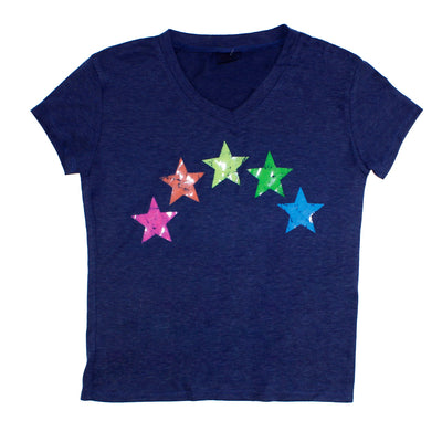 Short Sleeve VNeck with Neon Stars