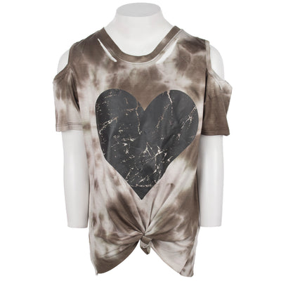 Short Sleeve Cold Shoulder with Slit Heart