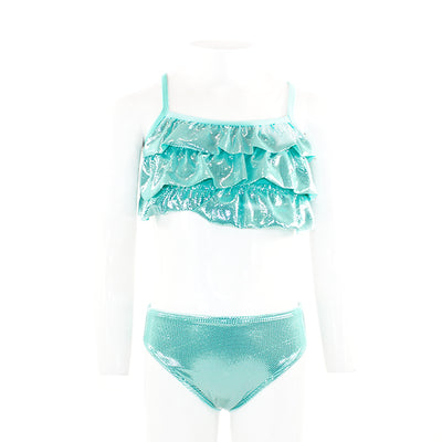Two Piece Ruffle Top Bikini with Foil