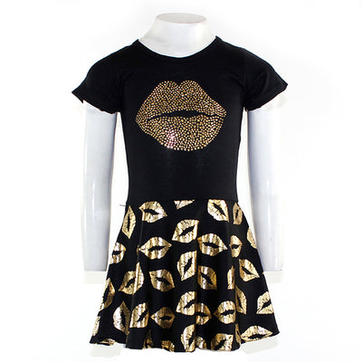 Short Sleeve Gold Dress With Gold Lips