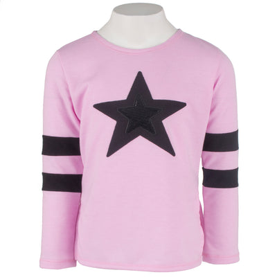 Long Sleeve Stripe Sleeve Top with Blk Star