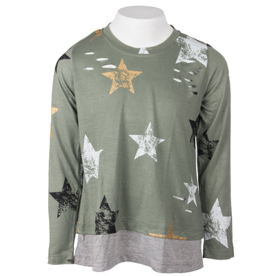 2fer Top with Stars Olive and Grey