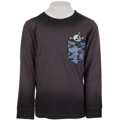 Pocket Skull Ombre Long Sleeve Tee