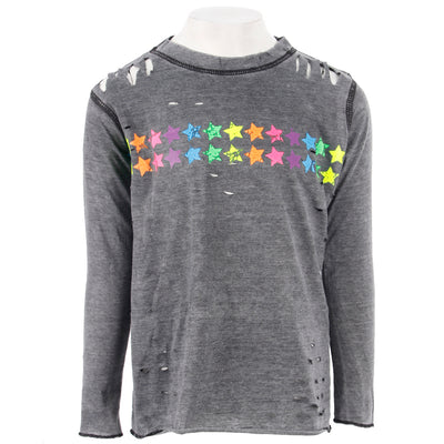 Long Sleeve Top Cut Outs with Neon Stars
