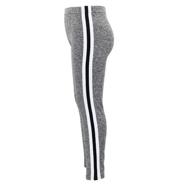 Grey/White/Heather Capri with Black/White Stripe