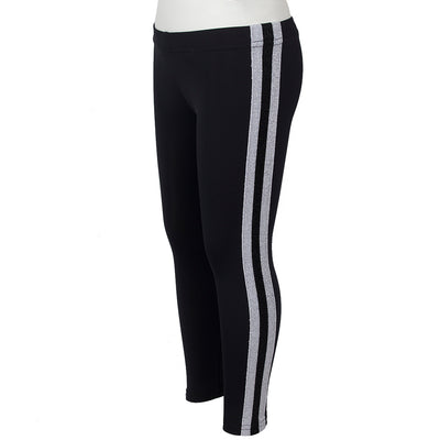 Black and Silver Sport Stripe Legging