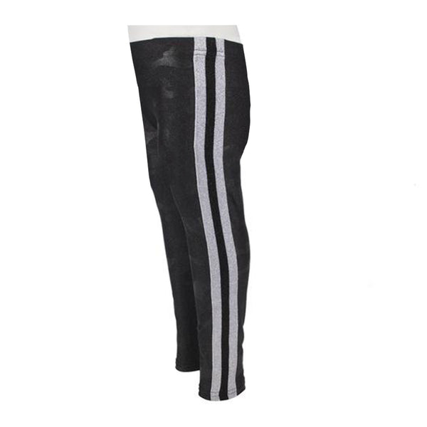 Black Camo Sparkle Legging with Silver Black Silver Stripe