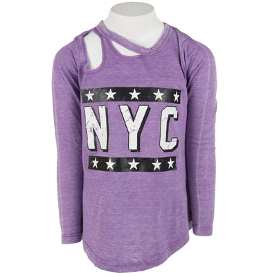Long Sleeve Top Slash Neck with NYC