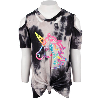 Short Sleeve Cold Shoulder with Slit Unicorn